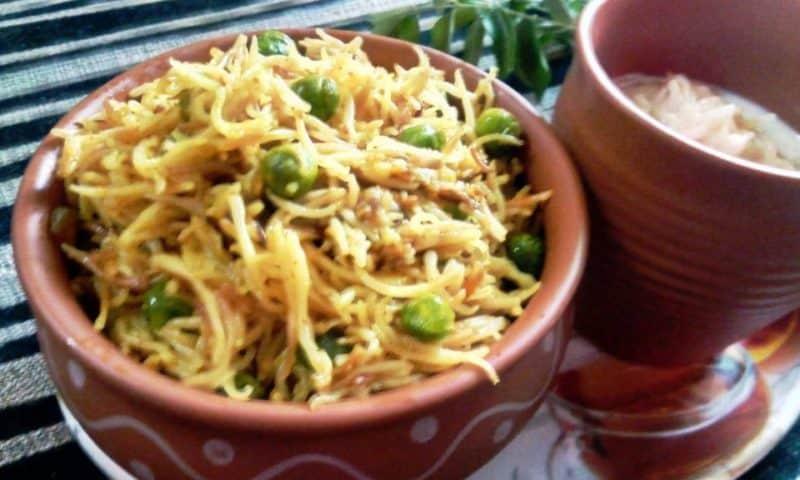 vermicelli green peas pulao