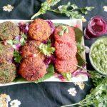 Tri-Colored Sesame Falafel with Cilantro Dip