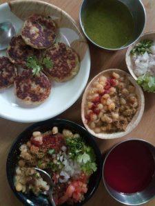 Aloo Tikki Chat/ Ragda Patties - A Street food in a healthy
