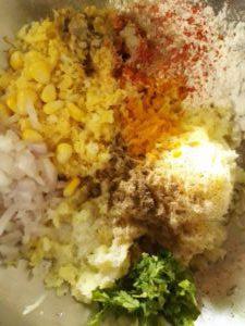 Corn Kabab Mixture of Ingredients.