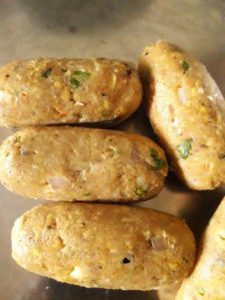 Corn kabab before frying