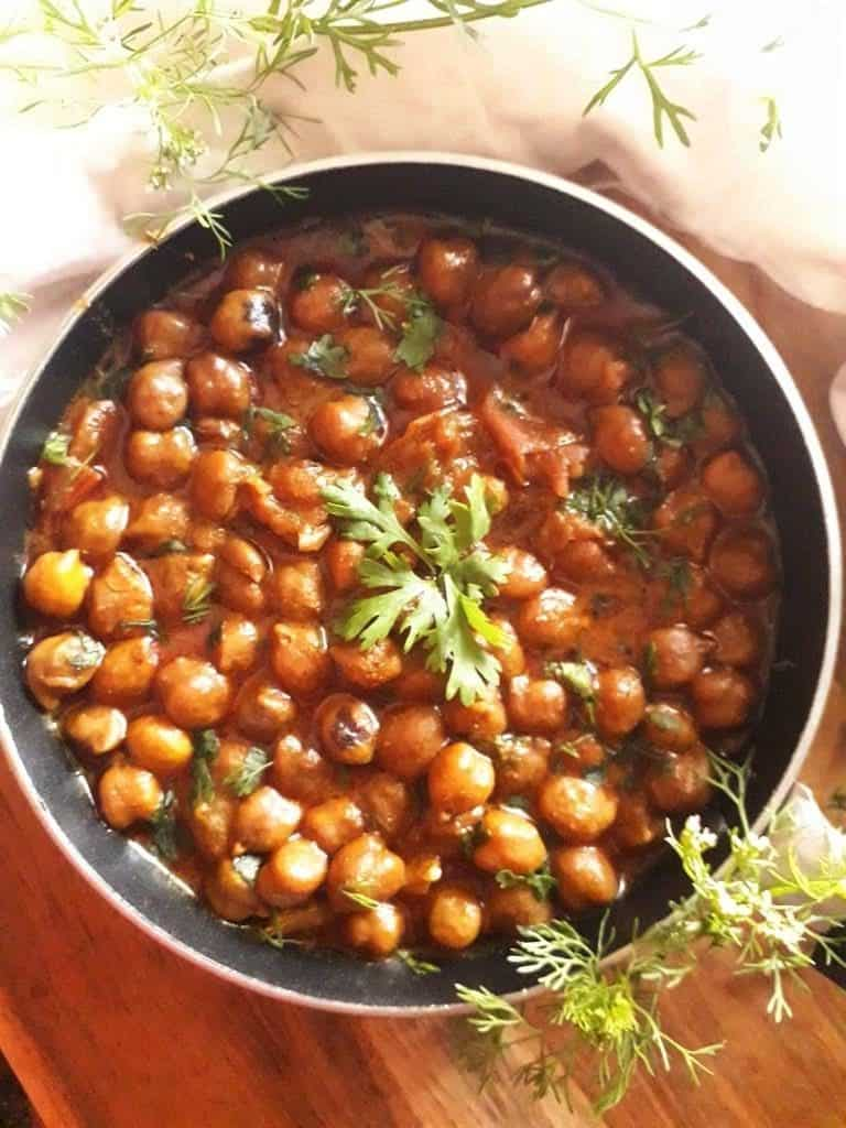 black chickpeas sauteed