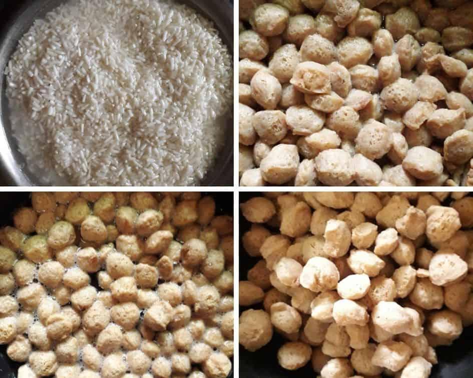 Soak soaybean in hot water