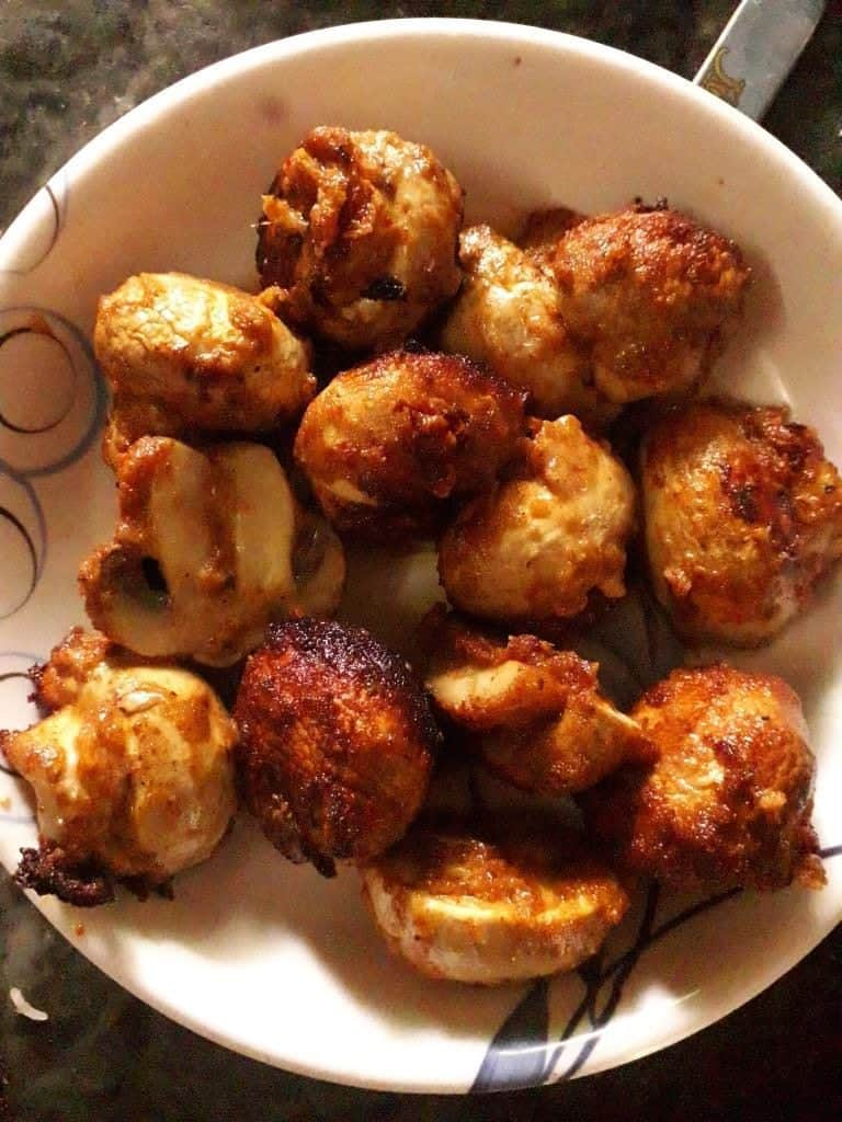 fried mushrooms for tikka masala