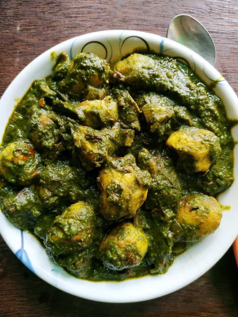aloo palak - saag aloo - spinach recipes