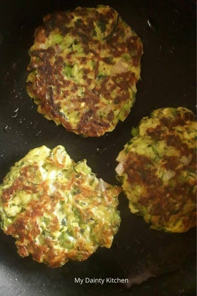 fritters on pan