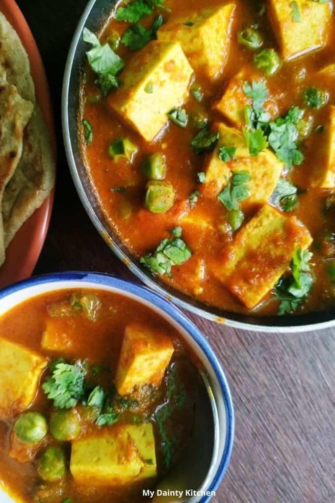 matar paneer curry indian