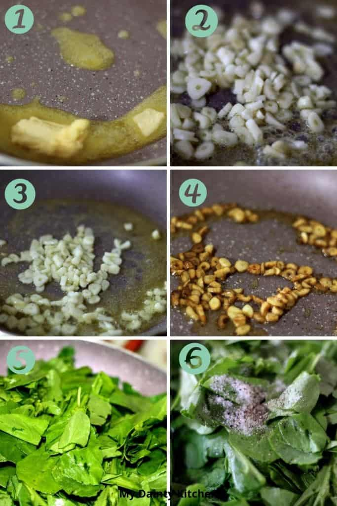 how to saute spinach process 1
