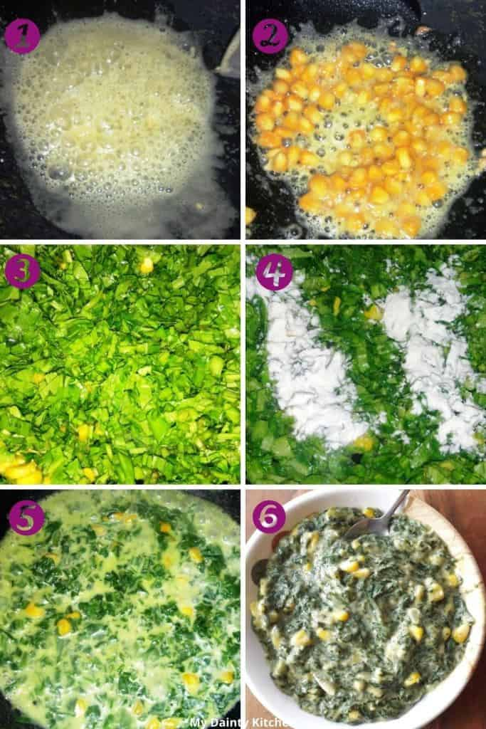 Prepare Stuffing of spinach & corn