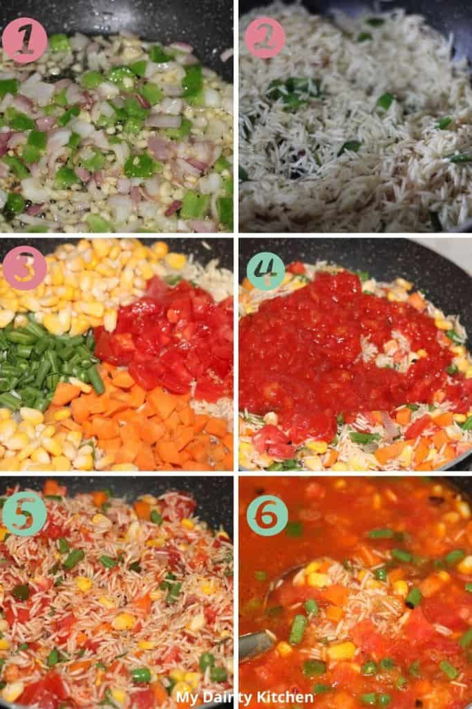 Mexican rice making process steps