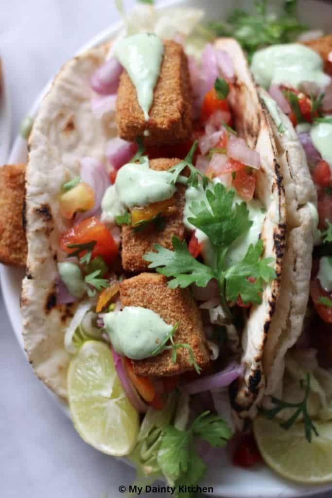 air fryer tofu nuggets tacos