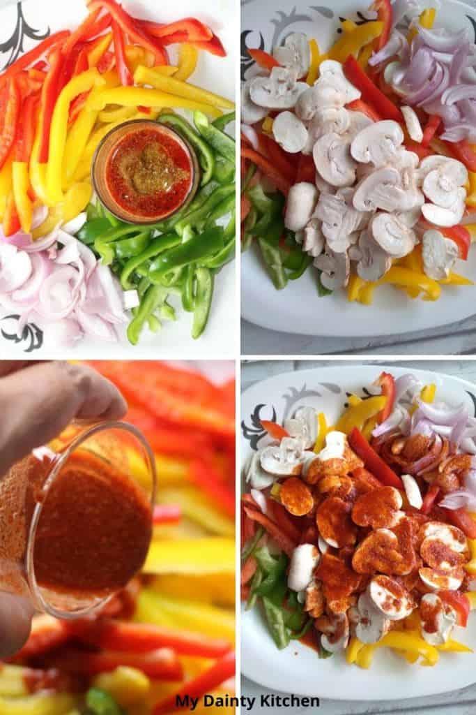 prep, marinate the vegetables in fajita sauce