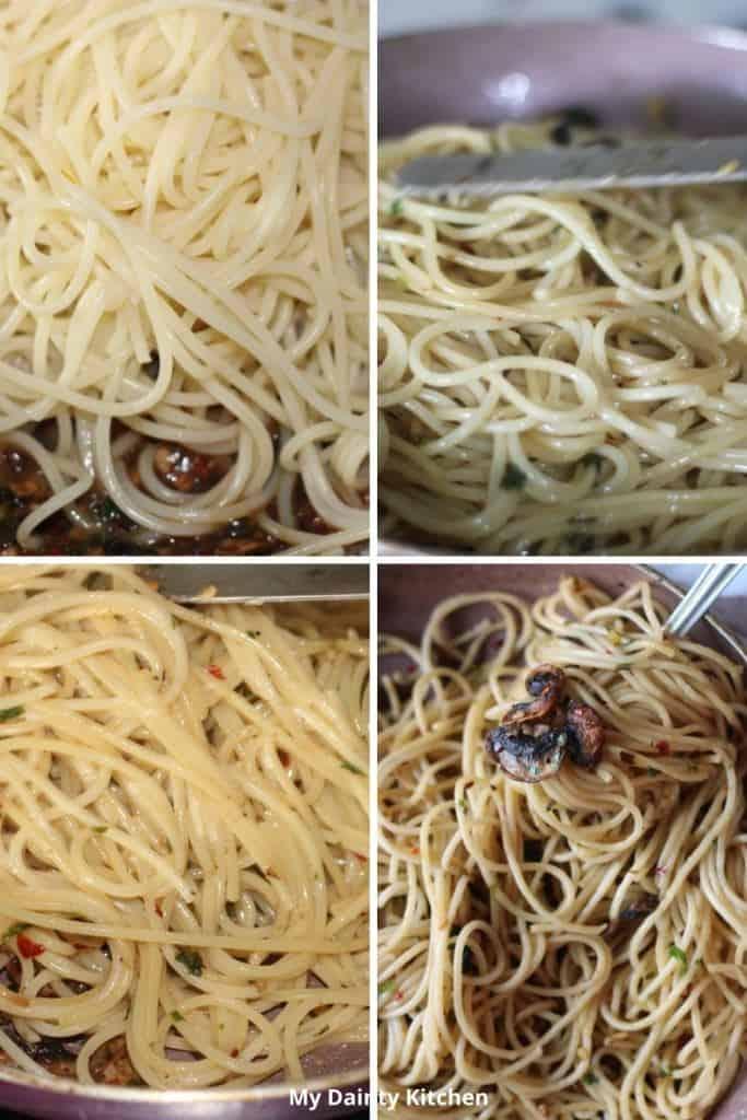 Stir the pasta with sauce