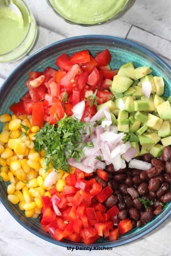 southwestern salad ingredients in a bowl