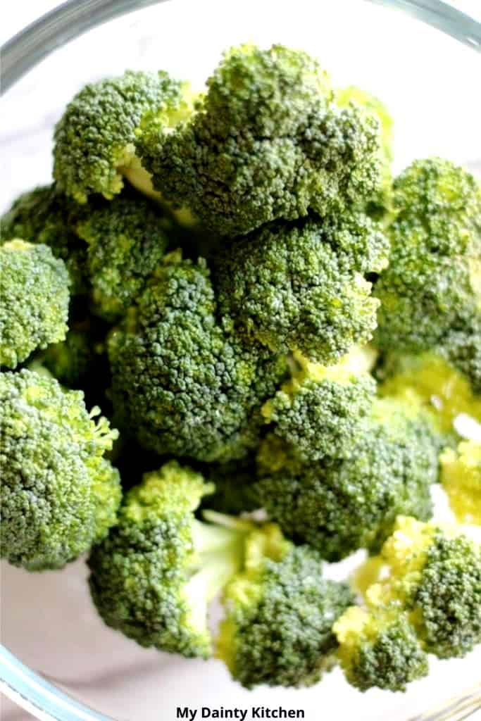 broccoli florets in a bowl before steaming